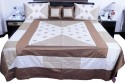 UFC Mart Cream Brown Silk With 4 Pillow Double Bed Cover