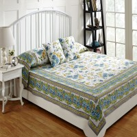 Ratan Jaipur Cotton Double Bed Cover Blue, Bed Cover, 2 Cushion Cover - BCVEBX4MGDYN6ZMZ