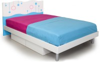 Alex Daisy Prism Engineered Wood Queen Bed With Storage (Finish Color -  Blue And White)