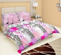 Just Linen Cotton Bedding Set Multicolor -Red With Black And White