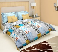 Just Linen Cotton Bedding Set Multicolor -Blue With Black And White