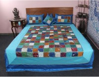 Jaipur Textile Hub Cotton Silk Blend Bedding Set Blue