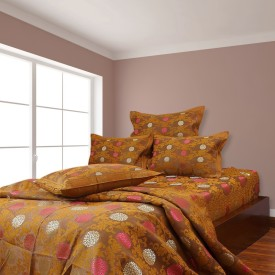 A'la Mode Creations Cotton Jacquard Double Bedsheet cum Bedcover with 2 Pillow Covers, Brown color Jacquard Bedding Set