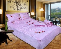 Easy Clean Ethnic Satin Bedding Set Pink