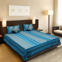 A'la Mode Creations Cotton Silk Blend Bedding Set Blue