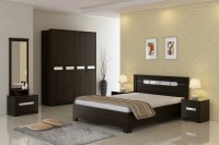 SPACEWOOD Engineered Wood Bed + Side Table + Wardrobe + Dressing Table (Finish Color - Fumed Oak)