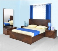 @home By Nilkamal Solid Wood Bed + Side Table + Dressing Table (Finish Color - Cherry)