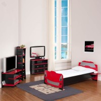 Elenza Legare Engineered Wood Bed + Study Table + Dressing Table + Bookshelf (Finish Color - Black) - BESECYNPDTGEHNQG