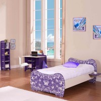 Elenza Legare Engineered Wood Bed + Study Table + Dressing Table + Bookshelf (Finish Color - Purple)