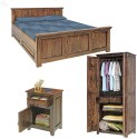 Natural Living Solid Wood Bed + Side Table + Wardrobe (Finish Color - Honey Brown)