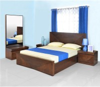 @home By Nilkamal Solid Wood Bed + Side Table + Dressing Table (Finish Color - Cherry) - BESEG7FJ5RR3FRYR