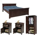 Natural Living Solid Wood Bed + Side Table + Wardrobe (Finish Color - Mahogany) - BESE9S7SJZK8HST4