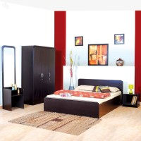 StyleSpa Engineered Wood Bed + Side Table + Wardrobe + Dressing Table (Finish Color - Dark Brown)