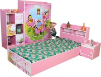 Stellar Engineered Wood Bed + Bedside Table + Wardrobe + Bookshelf (Finish Color - Multicolor)