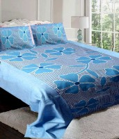 Rashi Homes Cotton Floral Double Bedsheet 1 Double Bed Bedsheet, 2 Pillow Cover, Blue