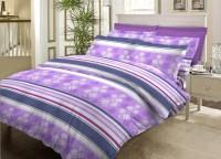 Bombay Dyeing Cotton Striped Double Bedsheet 1Double Bedsheet, 2Pillow Cover, Purple