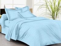 Trance Home Cotton Striped King Sized Double Bedsheet One King Size Bedsheet, 2 Pillow Covers, Sky Blue