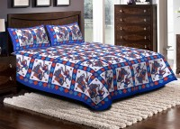 Jaipuri Haat Cotton Embroidered Double Bedsheet 1 Bedsheet, 2 Pillow Covers, Blue