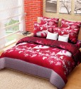 Home Candy Home Candy Maroon Floral Double Bed Sheet With 2 Pillow Covers 3-D Reactive Collection Flat Double Bedsheet