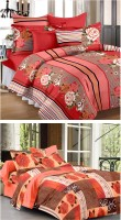 Story @ Home Cotton Abstract Double Bedsheet Set Of 2 Double Bedsheet With 4 Pillow Cover, Multicolor