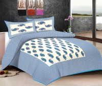 Viskar Fab Tex Cotton Printed Double Bedsheet One Traditional Hand Block Jaipuri Cotton Printed Double Bed Sheet With 2 Pillow Covers, Ocean Blue