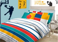 Bombay Dyeing Cotton Striped Double Bedsheet (4 Pillow Covers, 1 Bedsheet, Blue||White||Red)