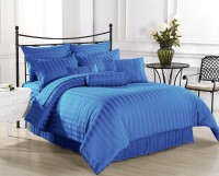 Ahmedabad Cotton Cotton, Satin Striped King Sized Double Bedsheet 1 Bed Sheet, 2 Pillow Covers, Blue