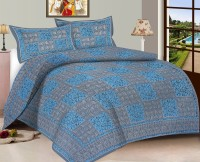Viskar Fab Tex Cotton Printed Double Bedsheet Jaipuri Hand Block Cotton Printed Double Bedsheet With 2 Pillow Covers, Steel Gray