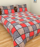 Shopgalore Cotton Abstract Double Bedsheet 1 Bedsheet, 2 Pillow Covers, Multi