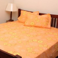 Home And Bazaar Cotton Floral Double Bedsheet 1 Bedsheet, Multicolor