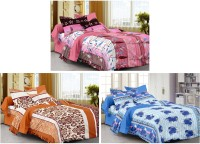 Story @ Home Cotton Printed Single Bedsheet Set Of 3 Single Bedsheet With 3 Pillow Cover, Multicolour