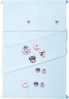 Baby Rap Cotton Embroidered Standard Crib Bedsheet (2 Bed Sheets, 2 Pillow Covers, Blue)