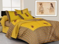 Lali Prints Cotton Embroidered King Sized Double Bedsheet 1 Bed Sheet, 2 Pillow Covers, Yellow