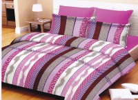 Lali Prints Cotton Striped King Sized Double Bedsheet 1 Double Super King Size Bedsheet, 2 Pillow Covers, Multicolor