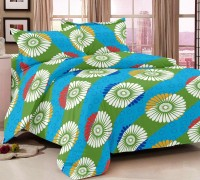 Luxe Cotton Printed Double Bedsheet Bedsheet, 2 Pillow Covers, Blue