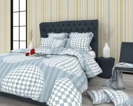 The White Moss Cotton, Satin Geometric King sized Double Bedsheet