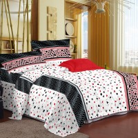 Story @ Home Cotton Printed Double Bedsheet 1 Bedsheet, 2 Pilow Cover, White