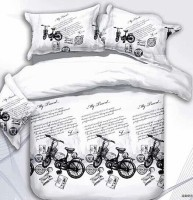 Brand Decor Polycotton Printed Queen Bedsheet (1 Bedsheet, 2 Pillow Cover, White, Black)