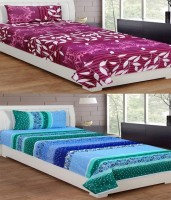 IndianOnlineMall Cotton Floral Single Bedsheet Set Of 2 Cotton Single Bedsheets With 2 Pillow Covers, Multi-Color