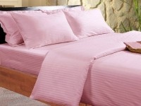 BlueeyE Satin Striped King Sized Double Bedsheet 1 Bedsheet With 2 Pillow Cover, Peach