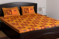 Vivid Rajasthan Cotton Printed Double Fitted Bedsheet Bedsheet, 2 Pillow Covers, Yellow