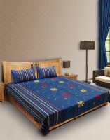 ESOUL Cotton Silk Blend Embroidered Double Bedsheet 1 Double Bedsheet, 2 Pillow Covers, Blue, Red