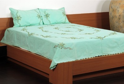 Unique Crafts Cotton Embroidered Double Bedsheet 1 Bedsheet, 2 Pillow Cover, Blue