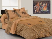 Laliprints Cotton Embroidered King Sized Double Bedsheet 1 Bed Sheet, 2 Pillow Covers, Brown