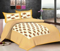 Viskar Fab Tex Cotton Printed Double Bedsheet One Rajasthani Traditional Cotton Printed Jaipuri Double Bed Sheet With 2 Pillow Covers, Mustard Brown