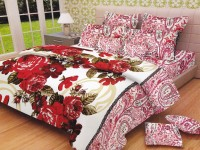 Lali Prints Cotton Floral King Sized Double Bedsheet 1 Double Super King Size Bedsheet, 2 Pillow Covers, Red
