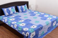SheetKart Cotton Floral Double Bedsheet 1 Double Bedsheet, 2 Pillow Covers, Sky Blue