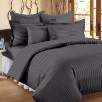 Ahmedabad Cotton Cotton, Satin Striped King Bedsheet (1 King Size Bedsheet, 2 Pillow Covers, Grey)