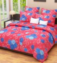 Home Candy Home Candy 100% Cotton Blue Floral Double Bed Sheet with 2 Pillow Covers Cotton Collection Flat Double Bedsheet