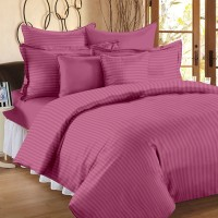 Ahmedabad Cotton Cotton, Satin Striped King Sized Double Bedsheet 1 King Size Bedsheet & 2 Pillow Covers, Metallic Pink